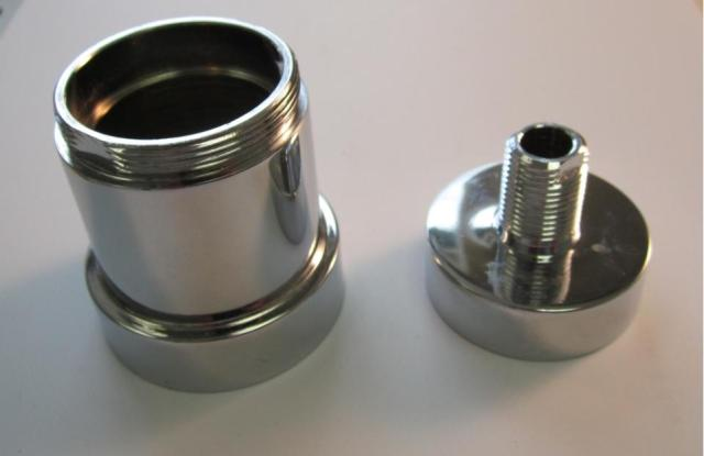 the base nut shown on the right and the lock nut shown on